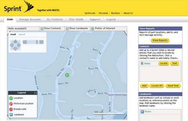 How to find a Sprint cell phone location?
